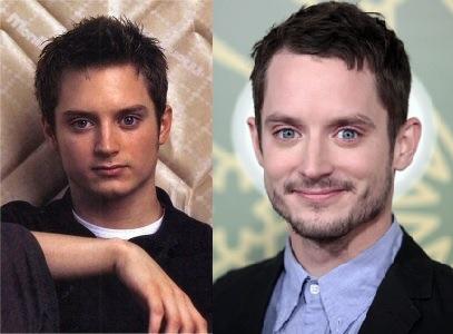 Elijah Wood in 1999 (links) en 2012 (rechts)